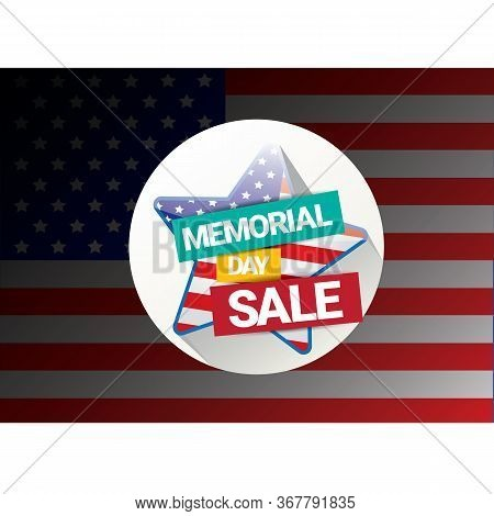 Vector Memorial Day Sale Banner. Memorial Day Sale Label. Memorial Day Sale Sticker