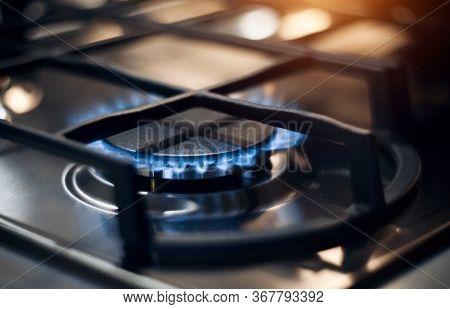 Kitchen Modern Gas Cooker With Burning Fire Propane Gas. Gas Stove.