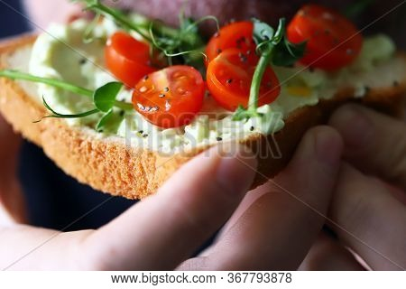 Toasts With Microgreens. Hand Holds A Healthy Toast. A Man Eats A Diet Toast With Microgreens. Healt