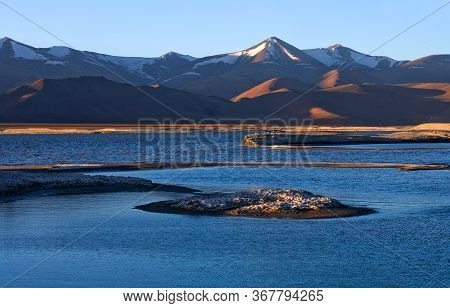Tso Kar Salt Water Lake In Ladakh, Jammu And Kashmir, North India. Tso Kar Located In Rupsha Valley,