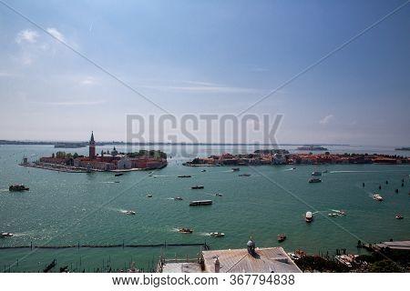 Islands Of San Giorgio Maggiore, Giudecca And San Lazzaro Degli Armeni. Heavy Ship, Boat And Vaporet