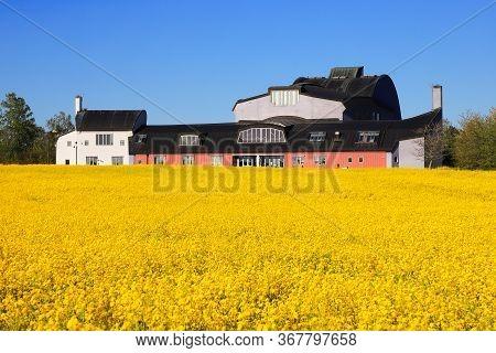 Jarna, Sweden - May 22, 2020: The Ytterjarna Cultural Centre Building Situated In Sodertalje Municip