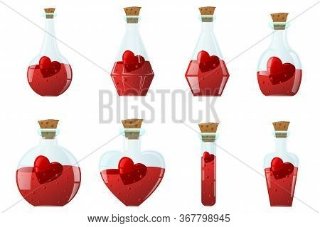 Elixir Of Love. Set Of Small Glass Bottles Of Different Shapes, Inside With A Red Heart.