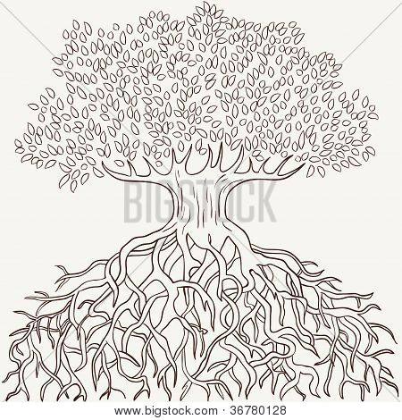 Abstract Tree With Branches And Roots Silhouette
