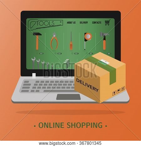 Online Store Of Tools For Repair And Construction On A Laptop . Flat Illustration Store With Fast Ho