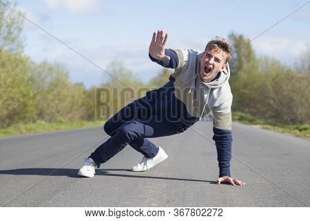 Frightened Terrified Scared Man Fall, Screaming. Accident, Scene On Road, Highway. Pedestrian Boy Go