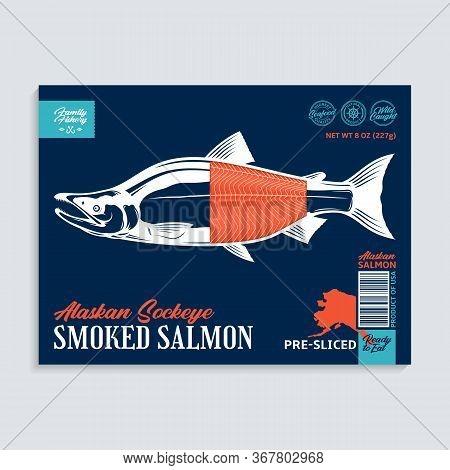 Vector Smocked Sockeye Salmon Package Design