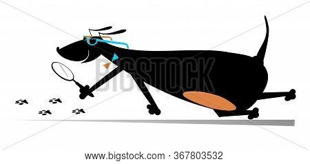 Cartoon Dog A Detective Illustration. Dachshund Detective Holding A Loupe Follows The Traces Isolate