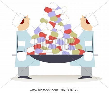 Two Physicians Hold The Stretchers Full Of Pills Illustration. Two Physicians Hold The Stretchers Wi