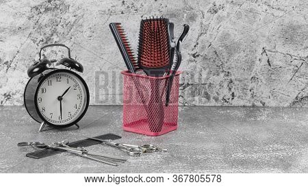 Hairdressing Set In Pink Form On A Gray Background