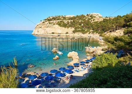Rhodes, Greece - May 8, 2018: Anthony Quinn Bay, Secluded Beach On The Island Of Rhodes. Greece