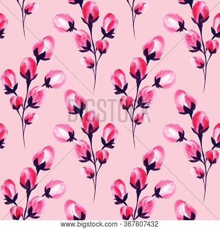 Sakura Flowers, Cherry Blossom Watercolor Frame Of Pink Blossom Petals And Buds, Floral Decoration P