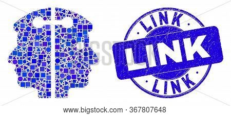 Geometric Dual Head Link Mosaic Icon And Link Seal. Blue Vector Round Distress Seal With Link Messag