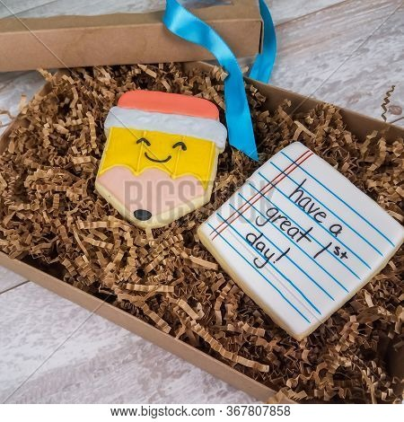 Welcome Back To The First Day Of School Sugar Cookies In A Gift Box For A Child With Pencil Notepad