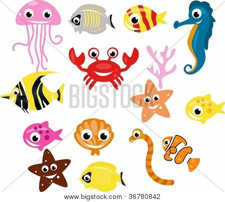 collection of small fish cartoon