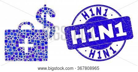 Geometric Medical Business Case Mosaic Pictogram And H1n1 Seal Stamp. Blue Vector Rounded Grunge Sea