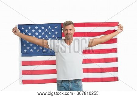 Anniversary Of Nations Independence. Happy Man Celebrate Independence Day. Happy Guy Hold American F