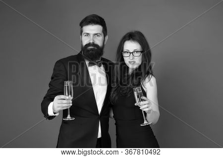 Celebrating Their Love. Occasion To Celebrate. Couple In Love Drink Sparkling Wine. Attractive Woman