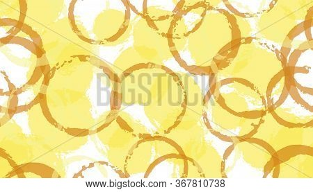 Summer Watercolor Circles Geometry Fabric Print. Circular Stain Overlapping Elements Vector Seamless