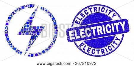 Geometric Electricity Mosaic Icon And Electricity Stamp. Blue Vector Round Distress Seal Stamp With