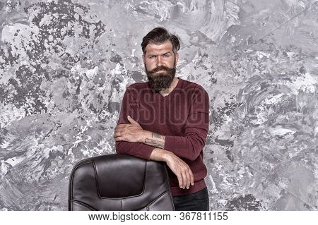 Responsibility And Reputation. Vacant Position. Hr Department. Empty Chair. Bearded Boss Stand In Of