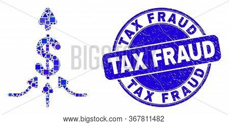 Geometric Payment Aggregator Mosaic Pictogram And Tax Fraud Stamp. Blue Vector Rounded Distress Stam