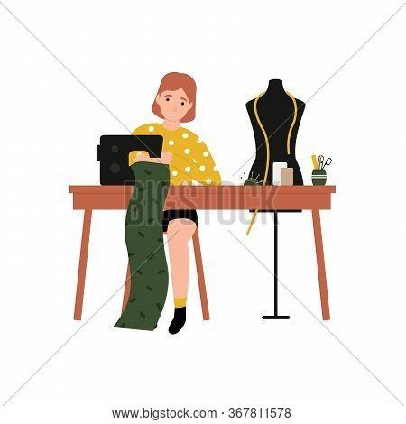 Girl At A Sewing Machine Sews Clothes. Flat Vector Cartoon Modern Illustration.