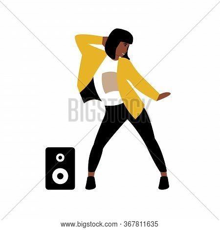 Hobby Concept. Girl Dancing Modern Dance To Music. Flat Vector Cartoon Modern Illustration.