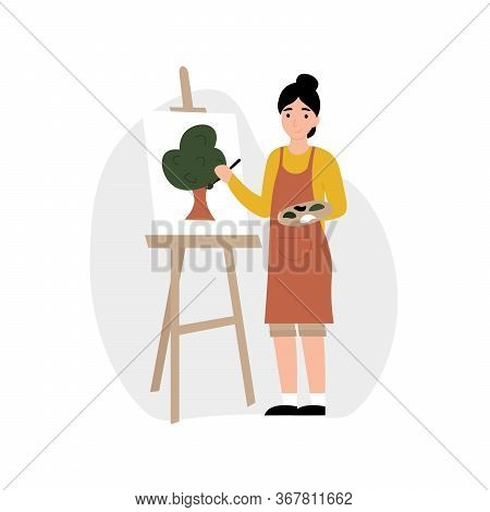 Hobby Concept. Girl Paints On An Easel. Flat Vector Cartoon Modern Illustration.