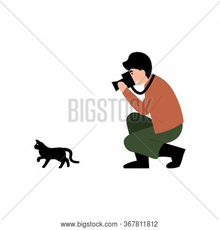 Guy Photographer Stands On One Knee And Takes A Picture Of A Cat. Flat Vector Cartoon Modern Illustr