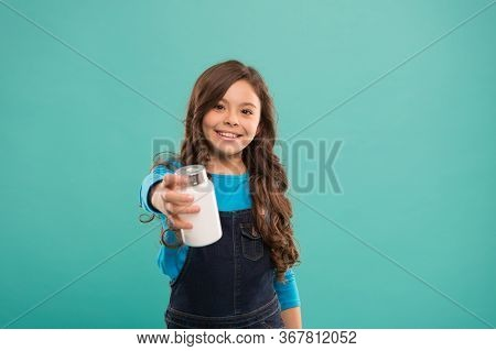Vital Habits. Little Cute Smiling Child Going To Take Vitamin. Food Additives. Omega Oils And Acids.