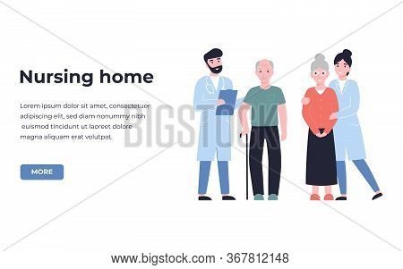 Nursing Home, Boarding House, Guesthouse Concept. Are And Treatment For The Elderly People. Flat Vec