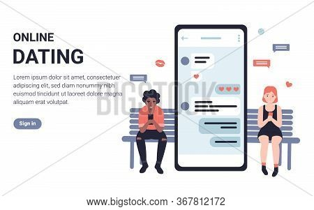 People Chatting With Each Other On Phone Application. Flat Concept Modern Vector Illustration Design