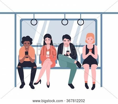 People Ride The Subway, Metro, Bus, Train. Male And Female Characters In Public Transport With Mobil
