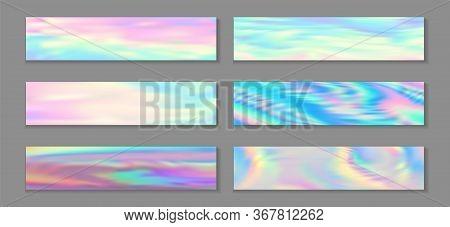 Holography Modern Banner Horizontal Fluid Gradient Unicorn Backgrounds Vector Collection. Girlish Ne