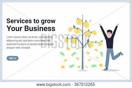 Service To Grow Your Business. Money Tree And Happy Man. Flat Concept Vector Modern Illustration Des