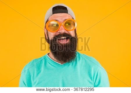 Good Vision. Fun And Entertainment. Funny Accessory. Man Eyewear Model. Funny Sunglasses. Bearded Ma