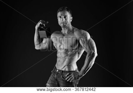 Womens Day Performance. Bodybuilder Holiday Gift. Sportsman Giving Gift. Macho Muscular Torso Hold G
