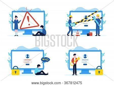 Set Website Pages, Error 404 Disconnect, Construction And Under Maintenance, Forgot Password, Enter