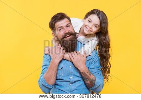 Enjoy Fathers Day. Happy Family Celebrate Fathers Day. Little Daughter Hug Father. Small Child And B