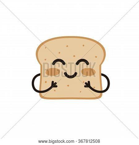 Cute Happy Smiling Funny Kawaii Slice Toast Or Bread. Flat Vector Cartoon Modern Character Illustrat