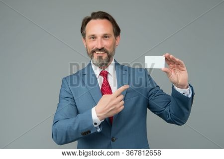 Use Card When Money Matters. Businessman Point Finger At Card. Making Payment With Bank Card. Online