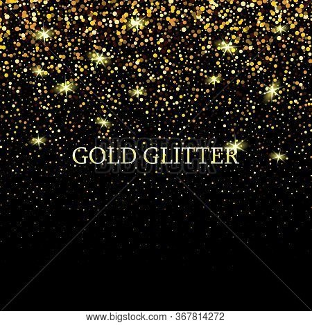 Gold Glitter Texture Isolated On Black. Celebratory Background. Golden Explosion Of Confetti. Design