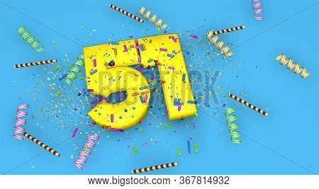 Number 51 For Birthday, Anniversary Or Promotion, In Thick Yellow Letters On A Blue Background Decor