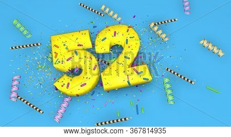 Number 52 For Birthday, Anniversary Or Promotion, In Thick Yellow Letters On A Blue Background Decor