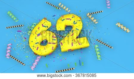 Number 62 For Birthday, Anniversary Or Promotion, In Thick Yellow Letters On A Blue Background Decor
