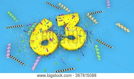 Number 63 For Birthday, Anniversary Or Promotion, In Thick Yellow Letters On A Blue Background Decor