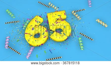 Number 65 For Birthday, Anniversary Or Promotion, In Thick Yellow Letters On A Blue Background Decor