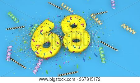 Number 68 For Birthday, Anniversary Or Promotion, In Thick Yellow Letters On A Blue Background Decor