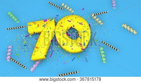 Number 70 For Birthday, Anniversary Or Promotion, In Thick Yellow Letters On A Blue Background Decor